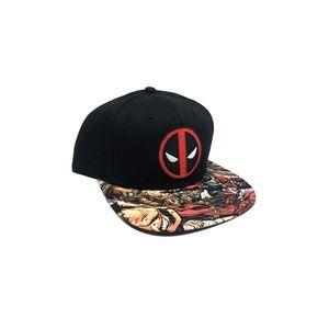 Men's Deadpool Snapback Hat Black Red Marvel